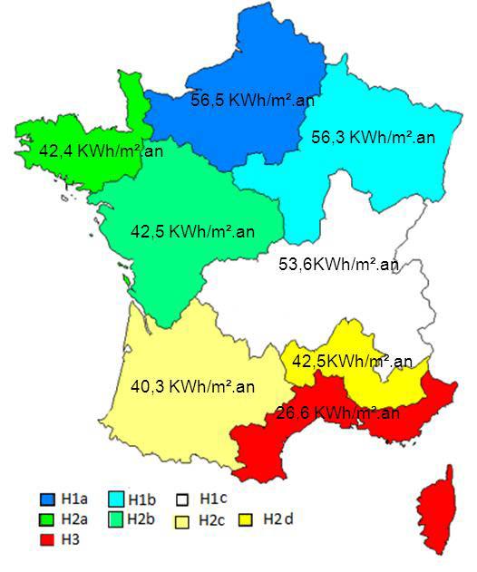Consommation conventionnelle d'énergie primaire moyenne par zone